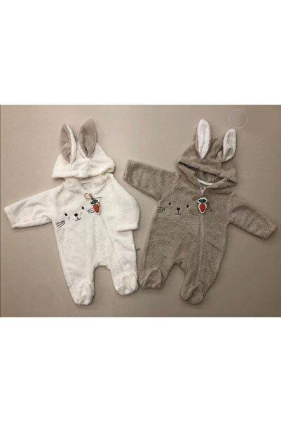 Bebbemini Kız Erkek Bebek Bej Tavşan Kulaklı Peluş Tulum
