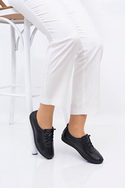 THE FRİDA SHOES Kadın Siyah Ortopedik Taban Ayakkabı