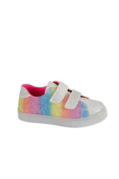 kids A more Silvery Işıklı Tabanlı Parlak Kız Ayakkabısı Gümüş