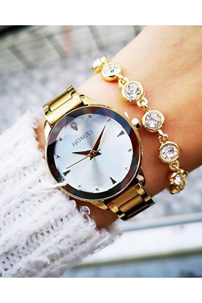 Homies Kadın Altın Çelik Saat