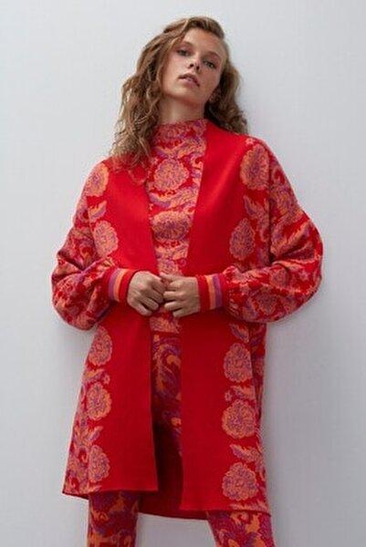 Kadın Kırmızı Multi Çiçek Desenli Triko Hırka