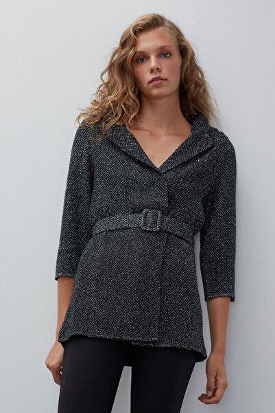 JOIN US Kadın Siyah Kemerli Triko Ceket