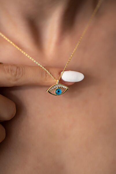 İzla Design Kadın Göz Model Altın Kaplama Gümüş Kolye PKT-İZLASLVR00693