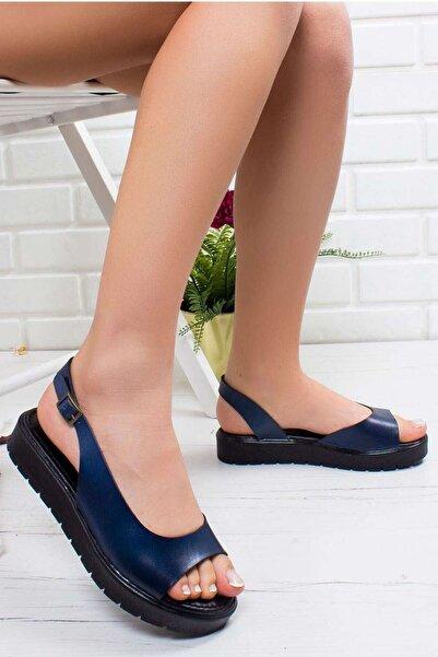 VİVA Kayla Hakiki Deri Sandalet Mavi