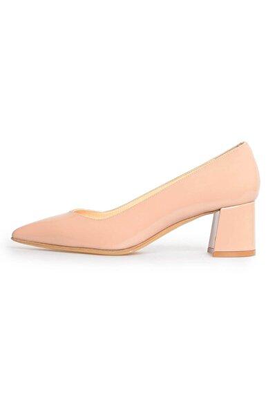 Flower Kadın Vizon Rugan Kalın Topuklu Ayakkabı