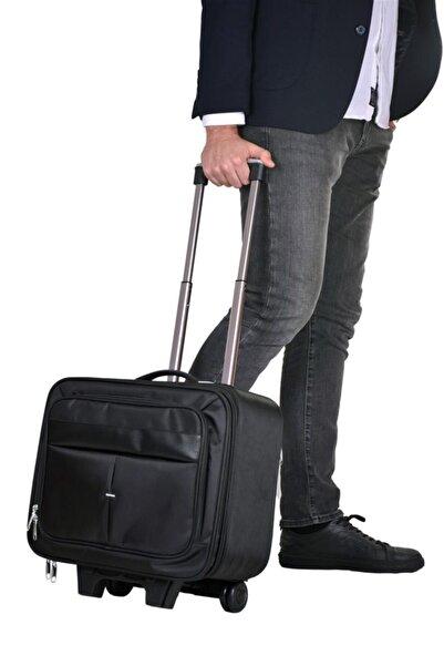 Çantaland Çekçekli Lüx Büyük Boy Kasalı Siyah Pilot, Evrak, Laptop, Notebook Çantası