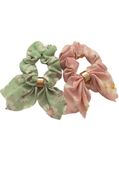 Virgoo 2'li Yeşil Pembe Çiçek Desenli Lastikli Fiyonk Toka