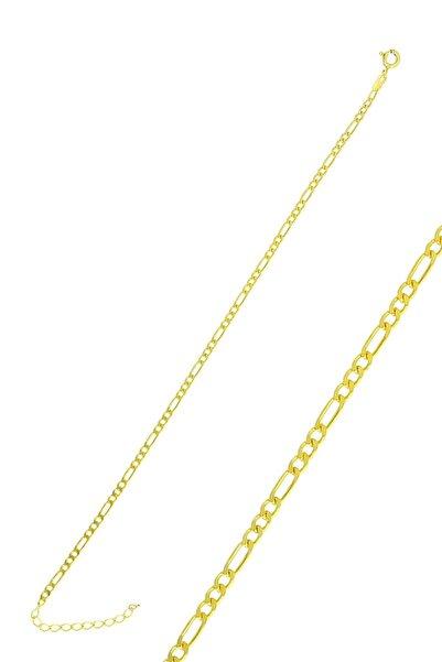 Söğütlü Silver Gümüş Altın Yaldızlı Figaro Zincir Bileklik