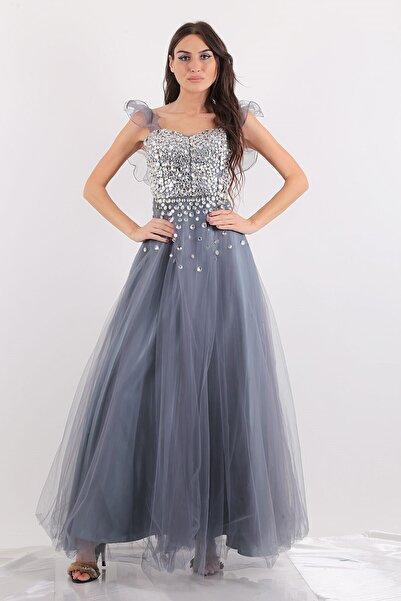 Mileny Kadın Gri Renk  Uzun Abiye Elbise