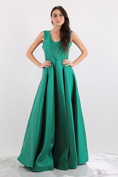 Mileny Kadın Yeşil Renk Saten Uzun Abiye Elbise