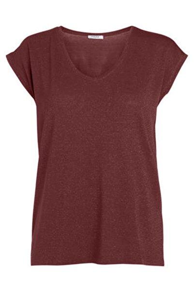 PIECES Kadın Kızıl Kahverengi Çizgili T-Shirt 17078572 PCBILLO