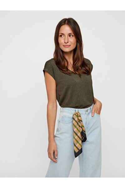 PIECES Kadın Yeşil Çizgili T-Shirt 17078572 PCBILLO