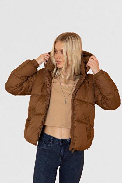 Vero Moda Kadın Kahverengi Kapüşonlu Şişme Mont 10232606 VMUPSALA