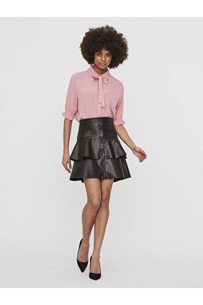 Vero Moda Kadın Siyah Katlı Volanlı Kaplama Etek 10237541 VMBUTTEREMMA