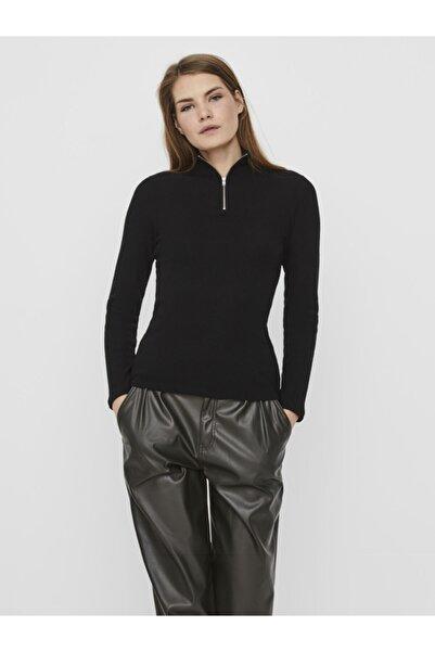 Vero Moda Kadın Siyah Yakası Fermuarlı  Sweat Kazak 10239082 VMTAMMI