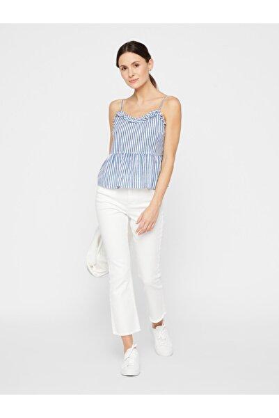 PIECES Kadın Beyaz Çizgili Fırfır Detaylı Askılı Pamuklu Bluz 17103509 PCAGGI