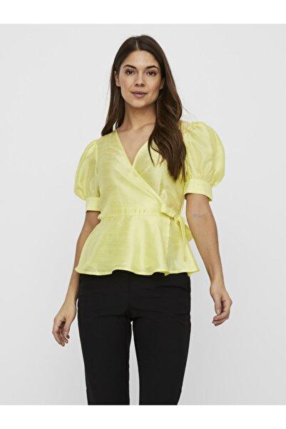 Vero Moda Kadın Sarı Kruvaze Bağlamalı Bluz 10232324 VMLOUI