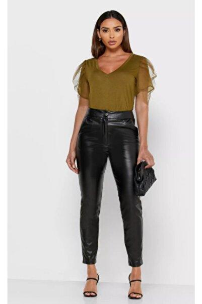 Vero Moda Kadın Yeşil Kısa Organze Kollu T-Shirt 10233599 VMFIA