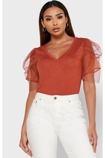 Vero Moda Kadın Kiremit Kısa Organze Kollu T-Shirt 10233599 VMFIA