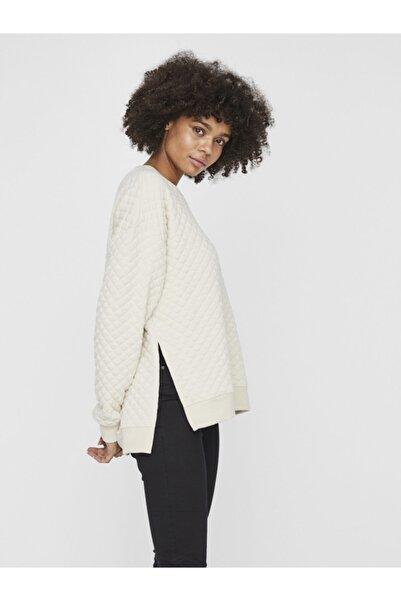 Vero Moda Kadın Ekru Yanları Yırtmaçlı Uzun Kollu Sweatshirt 10234763 VMCAYLE