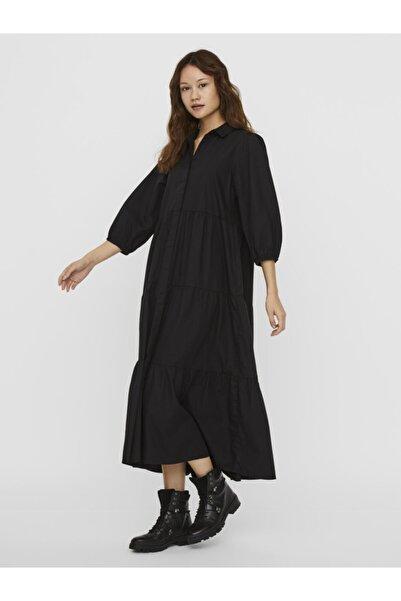 Vero Moda Kadın Siyah Truvakar Kol Uzun Pamuklu Elbise 10234041 VMCHRISTINE