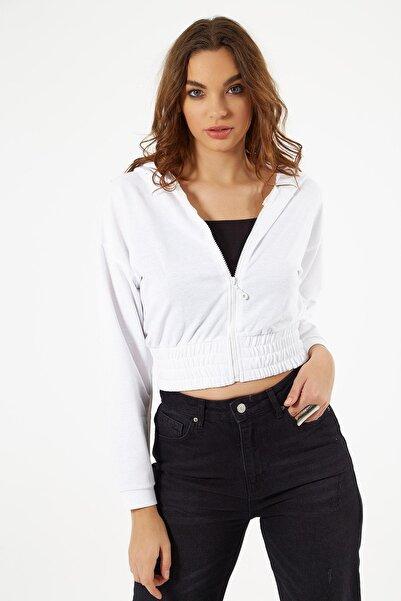 Y-London Kadın Beyaz Büzgülü Crop Sweatshirt Y20W185-1295