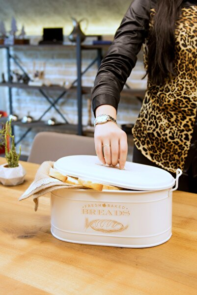 Kitchen Life Lüx Metal Büyük Boy Kapaklı Desenli Ekmeklik
