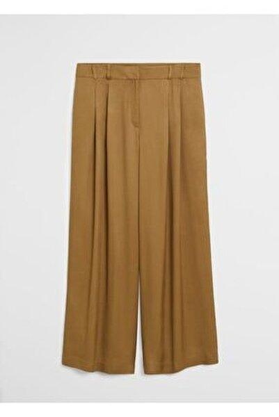 Kadın Zeytin Yeşili Pili Detaylı Pantolon 67057885
