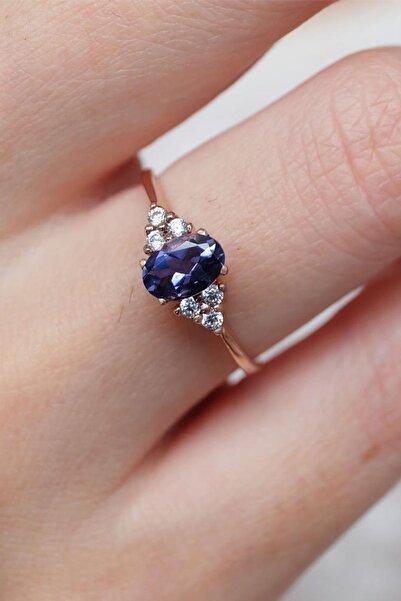 My Diamond Oval Mavi Safir Taşlı Klasik Pırlanta Yüzük 14 Ayar Pembe Altın