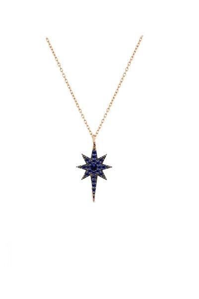 Trend Silver 925 Ayar Gümüş Lacivert Safir Taşlı Kutup Yıldızı-kuzey Yıldızı Kolye