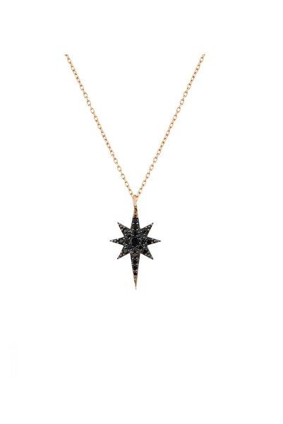 Trend Silver 925 Ayar Gümüş Siyah Oniks Taşlı Kutup Yıldızı-kuzey Yıldızı Kolye