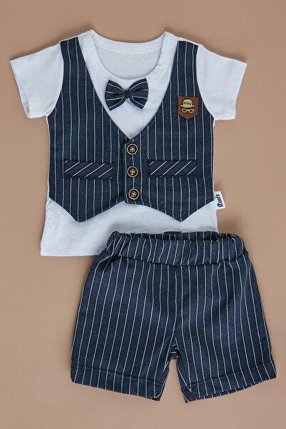 Fulla Moda Erkek Bebek Lacivert Çizgili Takım