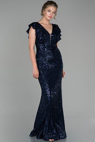 Abiyefon Kadın Lacivert Uzun Pul Payetli Balık Abiye Elbise
