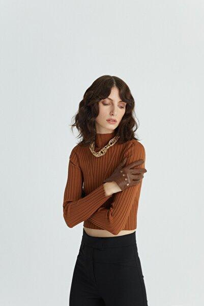 rue. Kadın Taba Dökümlü Drapeli Gömlek 20702111
