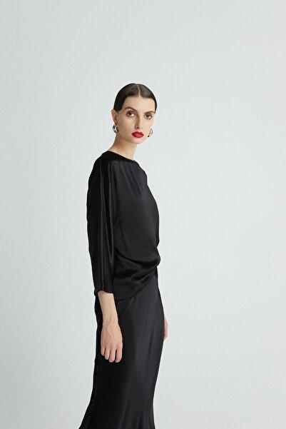 rue. Kadın Sıyah Saten Siyah Bluz 20902085
