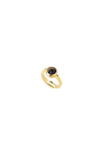 rue. Kadın Siyah Yuvarlak Kristal Taşlı Altın Kaplama Bronz Yüzük MV219101