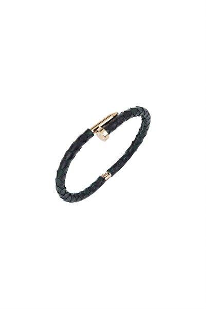 rue. Kadın Siyah Deri Kaplı Çivi Detaylı Çelik Bileklik MV21954