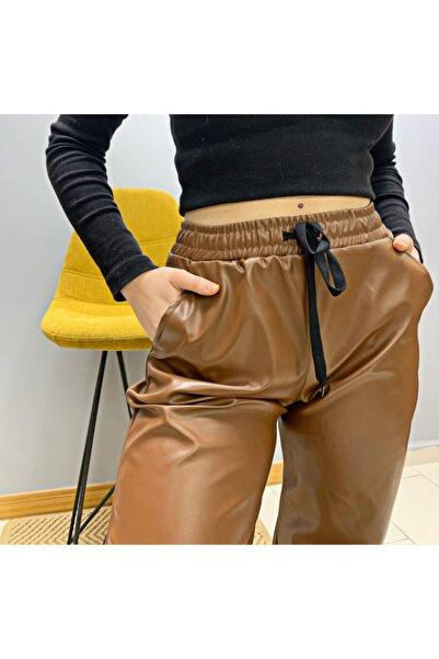 BENDEE BUTİK Deri Pantolon Paça Pileli