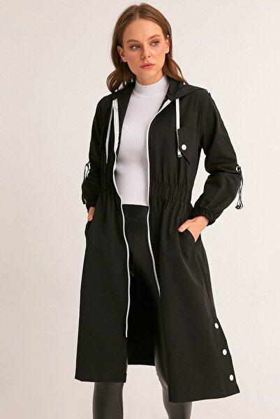 Fulla Moda Kadın Siyah Beli Lastikli Kapüşonlu Trençkot