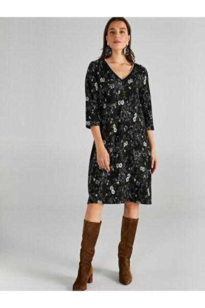 Faik Sönmez Kadın Siyah Çiçek Desenli V Yaka Örme Elbise 61234