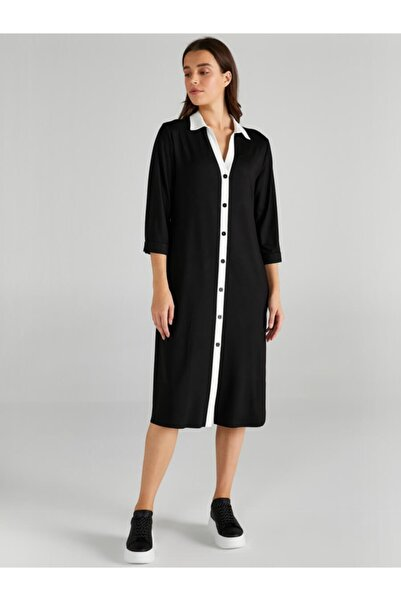 Faik Sönmez Kad��n Siyah Kontrast Renkli Örme Gömlek Elbise 61254