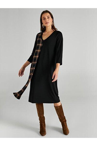 Faik Sönmez Kadın Siyah Ekose Detaylı V Yaka Örme Elbise 61248