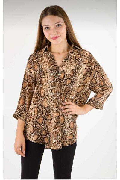 AYHAN Kadın Kahverengi Yılan Desen Bluz