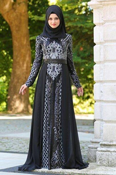 Neva Style Kadın Gri Pul Payet Kemerli Tesettür Abiye Elbise