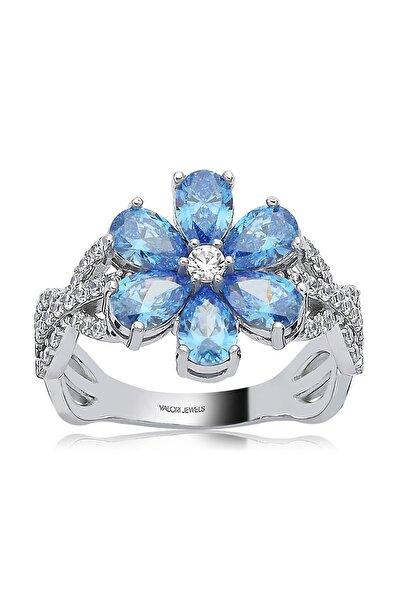 Valori Jewels 2 Karat Swarovski Zirkon Mavi Damla Taşlı, Gümüş Çiçek Yüzük