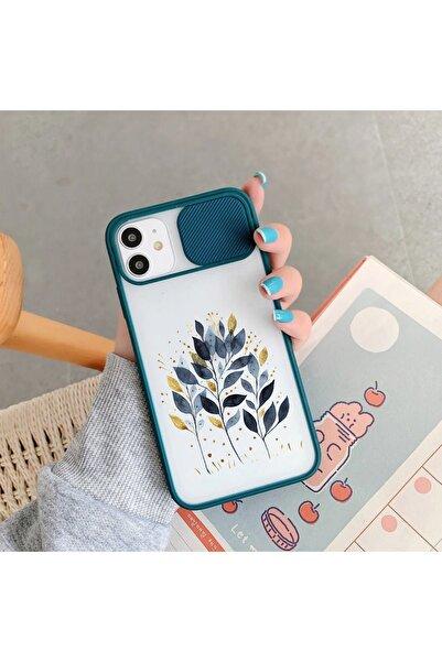 mooodcase Mavi Yaprak Tasarımlı Iphone 11 Yeşil Kamera Korumalı Telefon Kılıfı