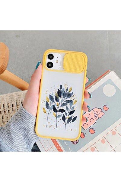 mooodcase Mavi Yaprak Tasarımlı Iphone 11 Sarı Kamera Korumalı Telefon Kılıfı