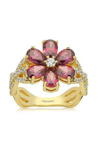 Valori Jewels 2 Karat Swarovski Zirkon Kırmızı Damla Taşlı, Altın Rengi Gümüş Çiçek Yüzük
