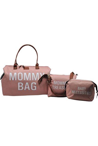 Babysi Mommy Bag Tasarım 3 lü Set Pudra Baby Anne Bebek Bakım ve Kadın Çantası