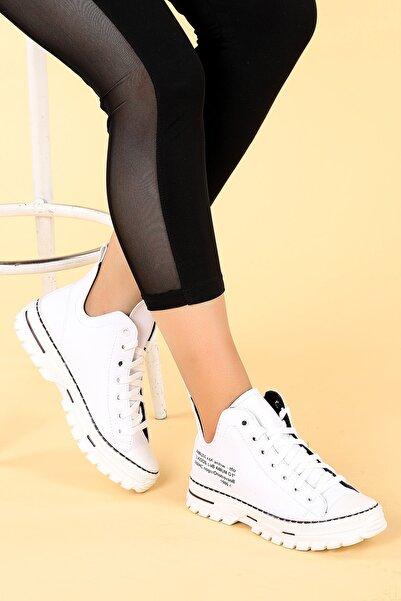 Ayakland Kadın Beyaz Kalın Taban Ayakkabı